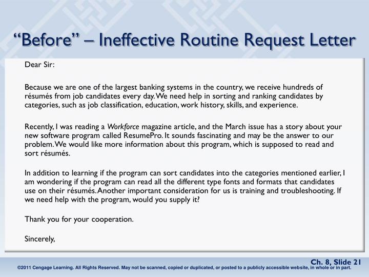 """""""Before"""" – Ineffective Routine Request Letter"""