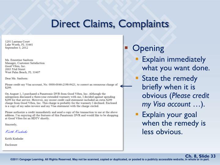 Direct Claims, Complaints