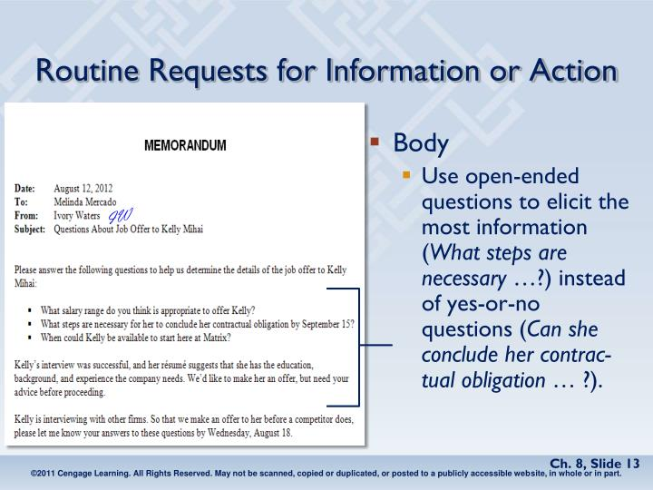 Routine Requests for Information or Action