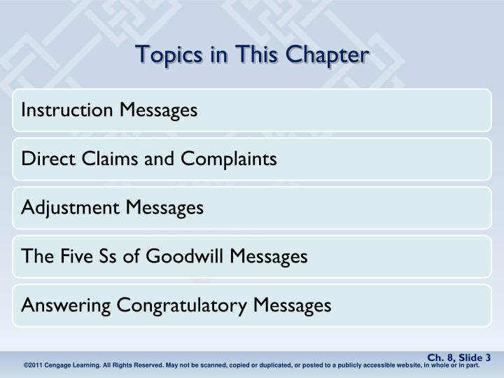 Topics in this chapter1