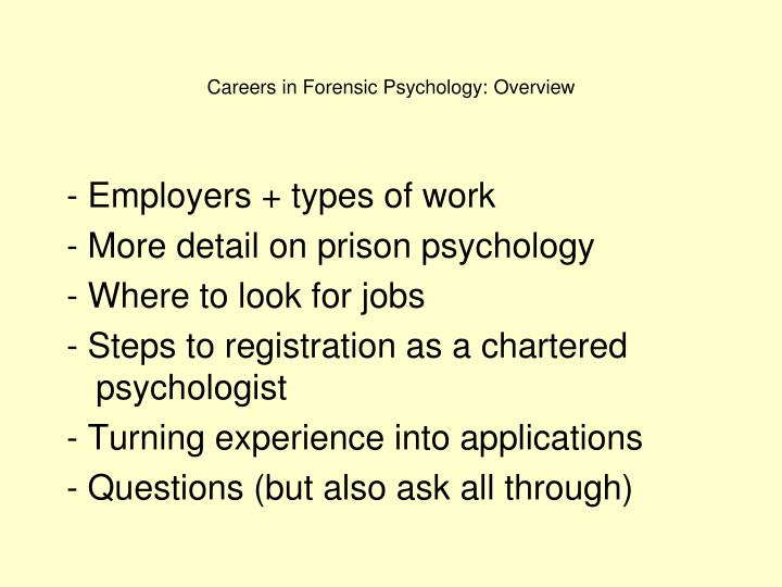 Careers in forensic psychology overview