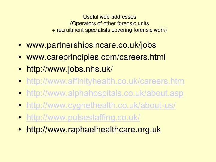 Useful web addresses