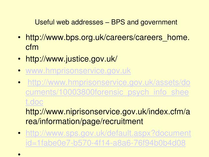 Useful web addresses – BPS and government