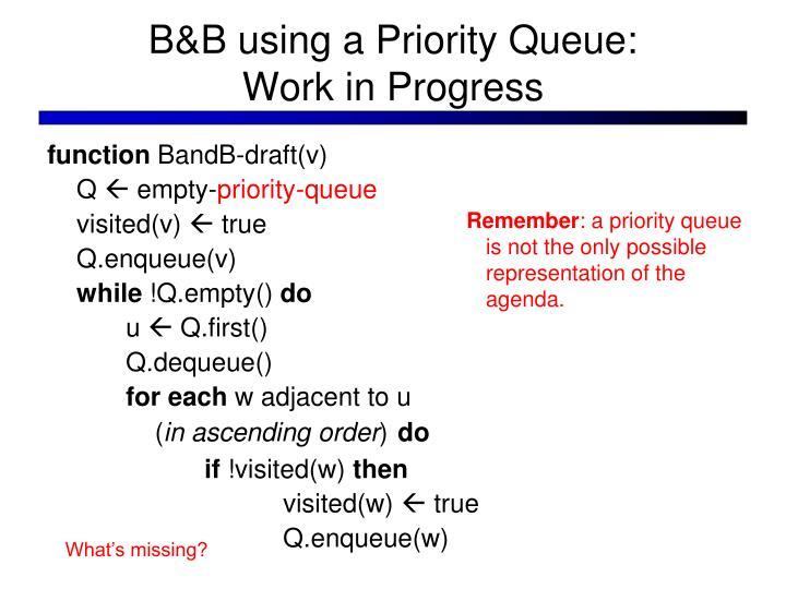 B&B using a Priority Queue: