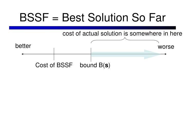 BSSF = Best Solution So Far