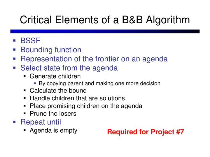 Critical Elements of a B&B Algorithm