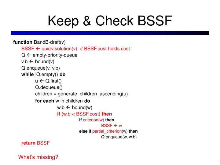Keep & Check BSSF