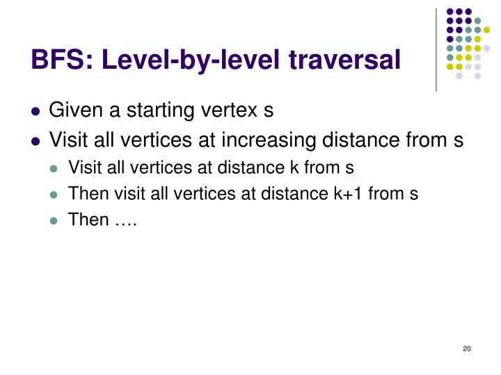 BFS: Level-by-level traversal