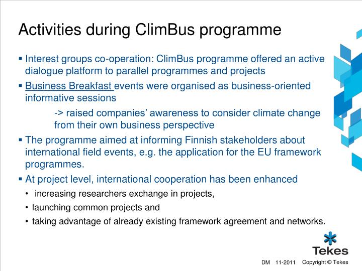 Activities during ClimBus programme