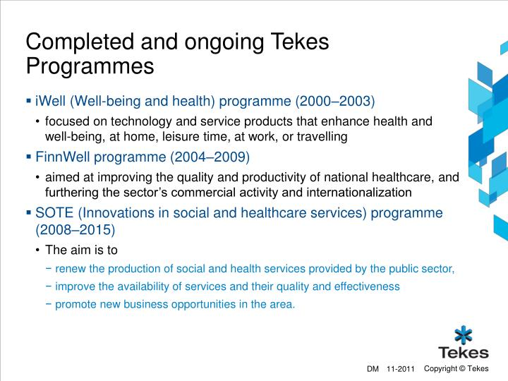 Completed and ongoing Tekes Programmes