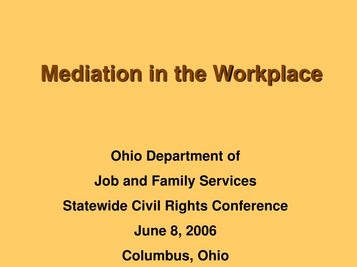 mediation in the workplace n.