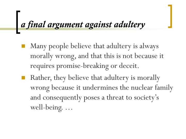 a final argument against adultery