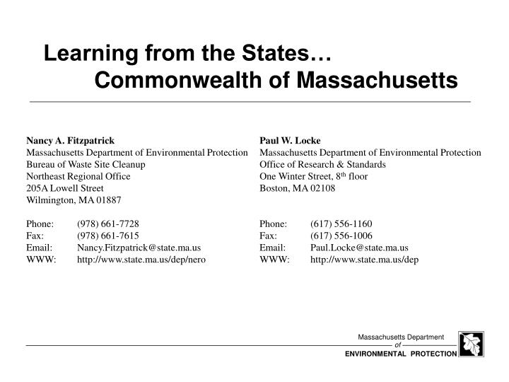 learning from the states commonwealth of massachusetts n.