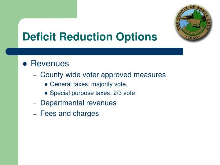 Deficit Reduction Options