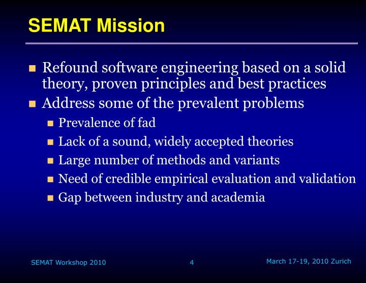 SEMAT Mission