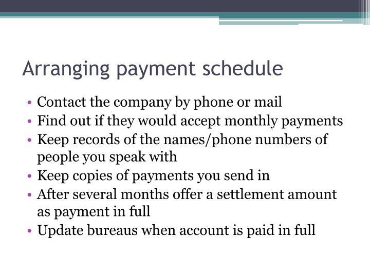 Arranging payment schedule