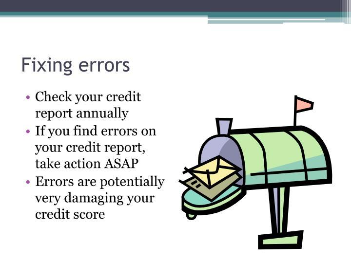Fixing errors