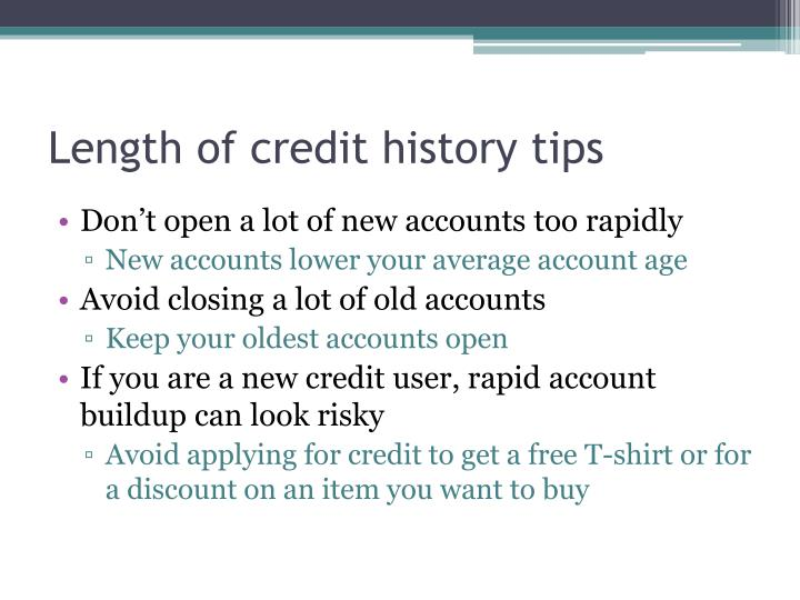 Length of credit history tips