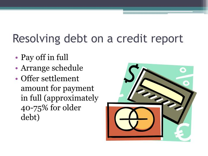 Resolving debt on a credit report