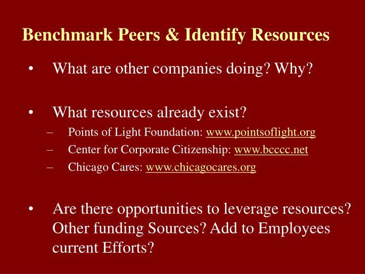 Benchmark Peers & Identify Resources