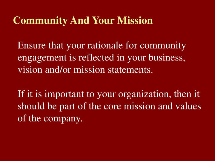Community And Your Mission