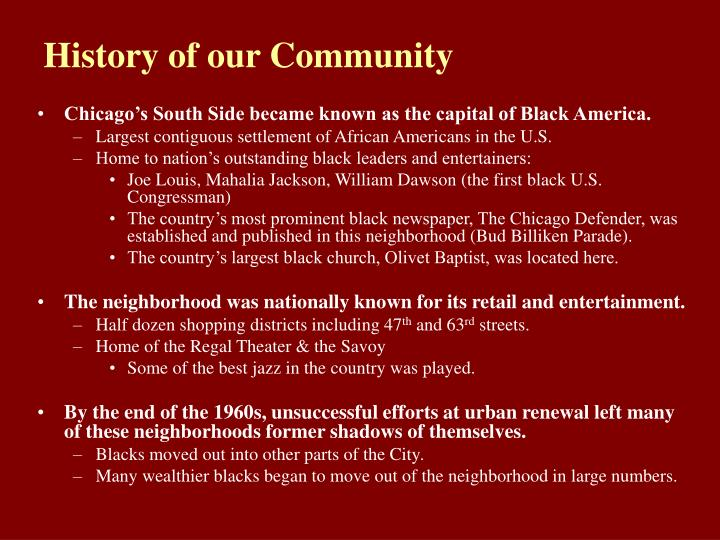 History of our Community