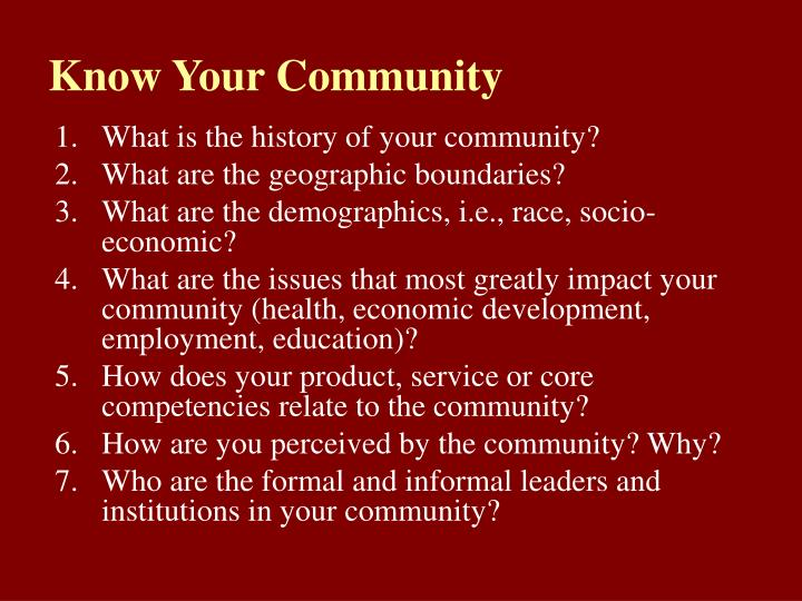 Know Your Community