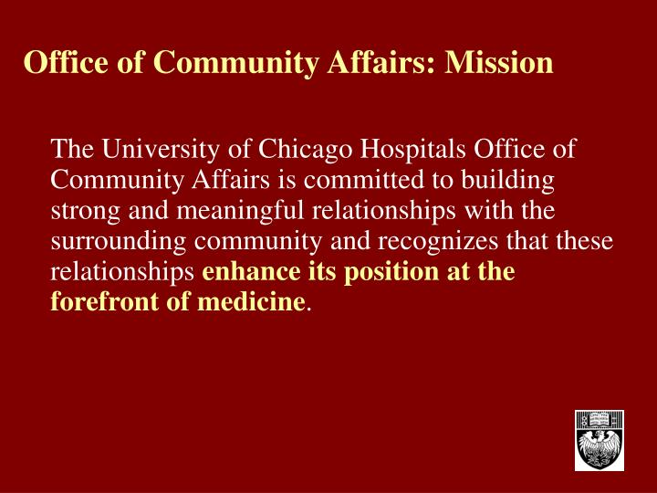 Office of Community Affairs: Mission