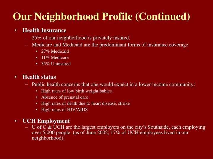 Our Neighborhood Profile (Continued)