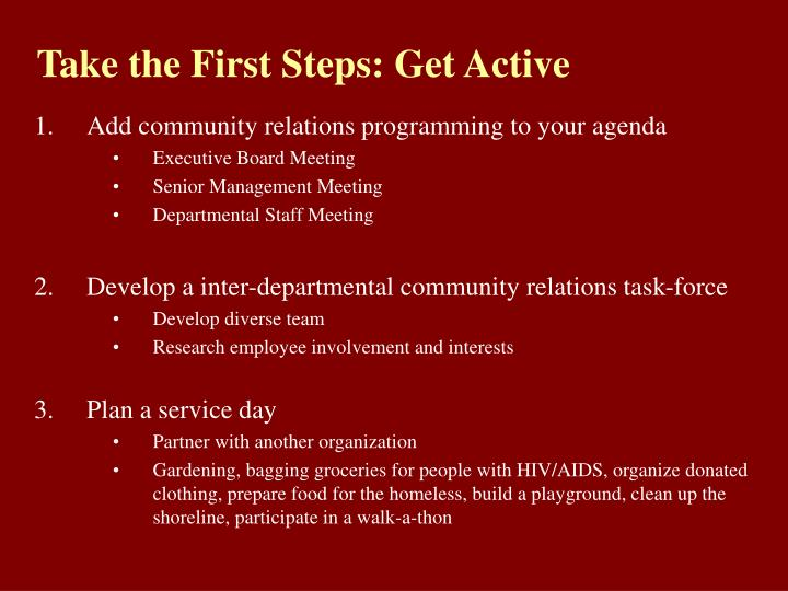 Take the First Steps: Get Active