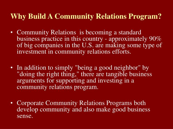 Why build a community relations program