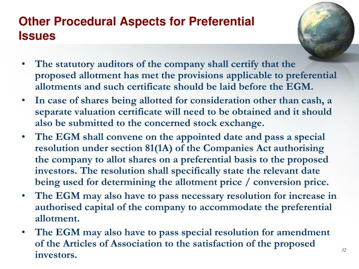 Other Procedural Aspects for Preferential Issues