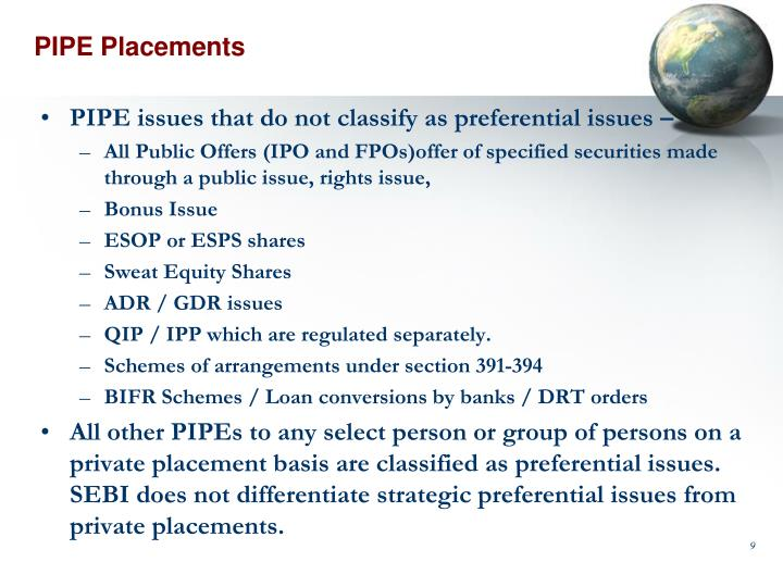 PIPE Placements