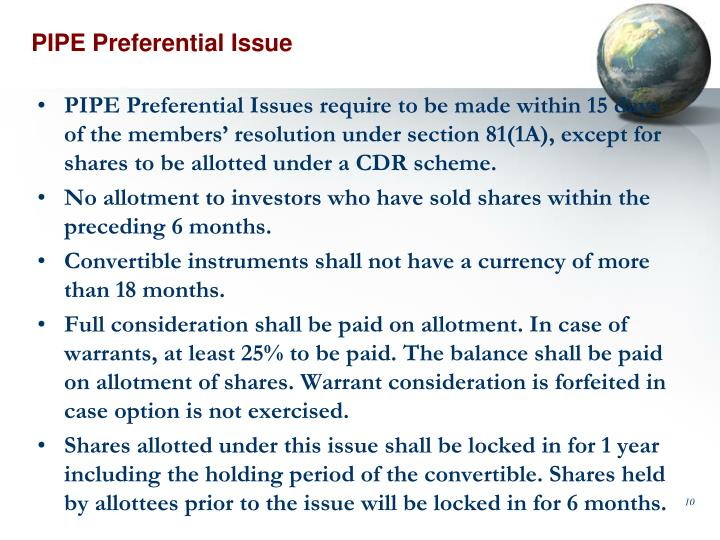 PIPE Preferential Issue