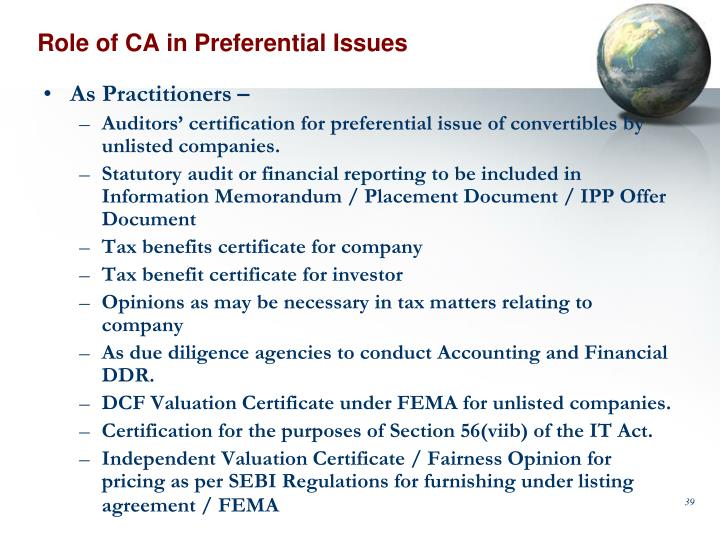 Role of CA in Preferential Issues