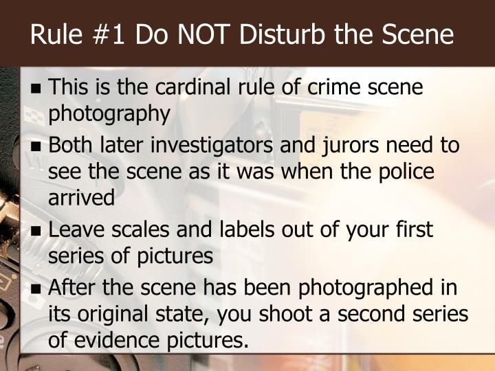 Rule #1 Do NOT Disturb the Scene