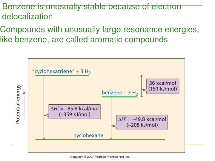 Benzene is unusually stable because of electron