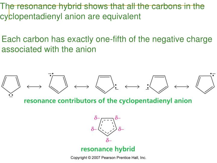 The resonance hybrid shows that all the carbons in the