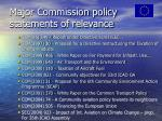 major commission policy statements of relevance