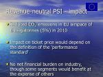 revenue neutral psi impact