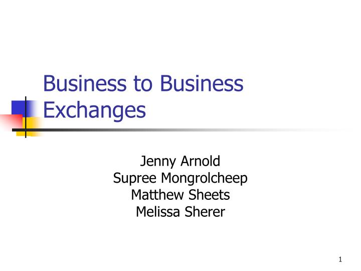 business to business exchanges n.