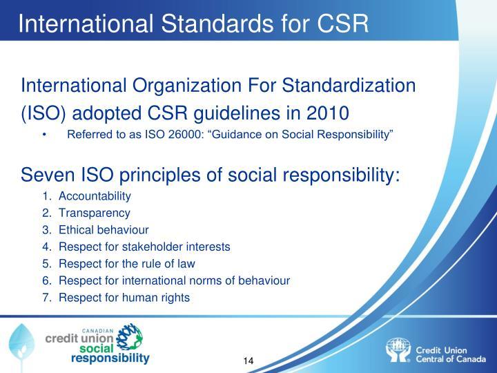 International Standards for CSR