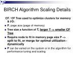 birch algorithm scaling details