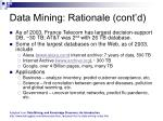 data mining rationale cont d