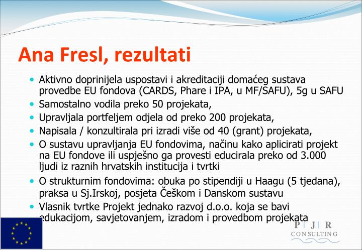 Ana Fresl, rezultati
