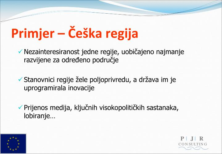 Primjer – Češka regija