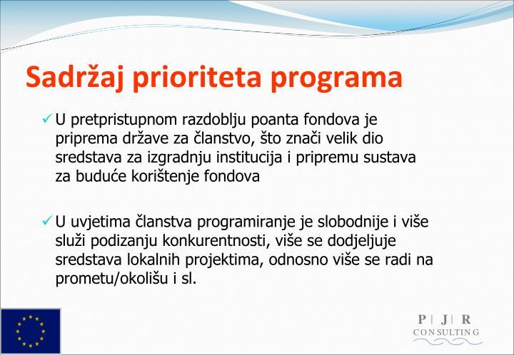 Sadržaj prioriteta programa