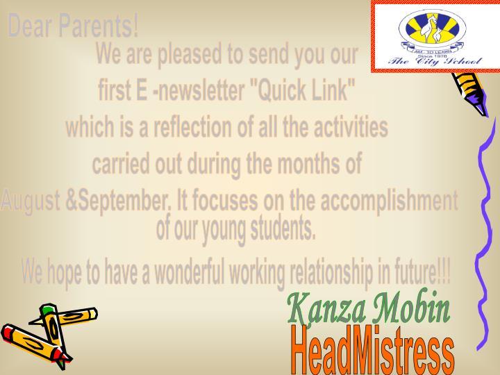 Dear Parents!