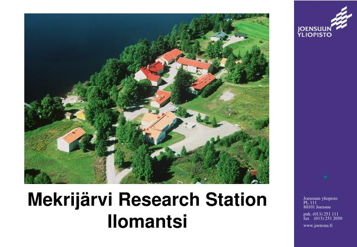 Mekrij rvi research station ilomantsi