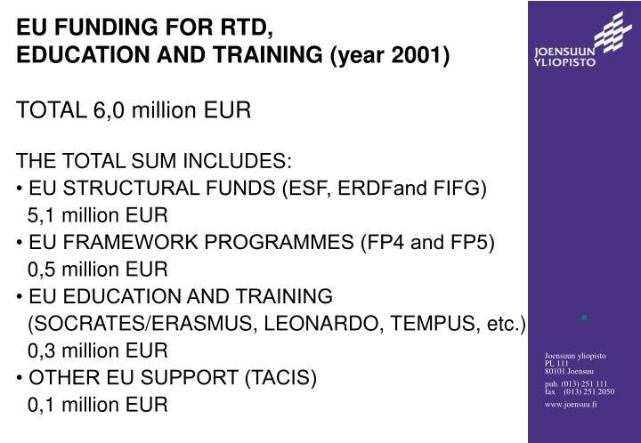 EU FUNDING FOR RTD,